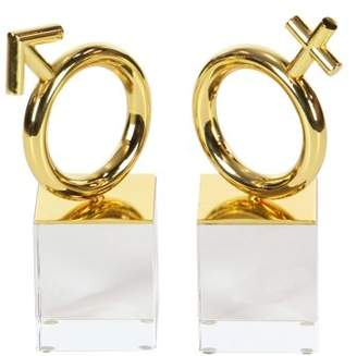 DecMode Decmode Modern 7 Inch Gold Female And Male Symbol Sculptures With Glass Stand - Set of 2
