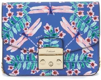 Furla Metropolis Bluette Leather Shoulder Bag With Dragonflies
