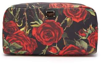 Dolce & Gabbana Rose Print Make Up Bag - Womens - Black Red