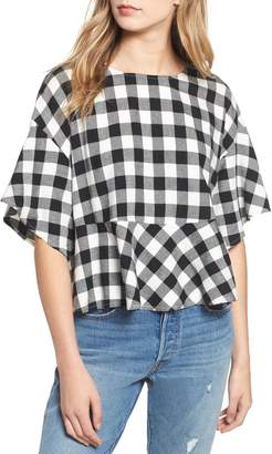 BP Plaid Peplum Top