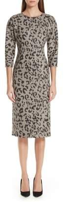 Max Mara Dramma Leopard Jacquard Wool Dress