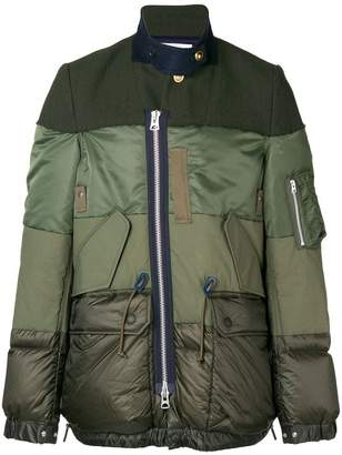 Sacai off-centre zipped jacket