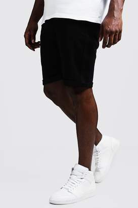 Big & Tall Stretch Skinny Fit Black Denim Shorts