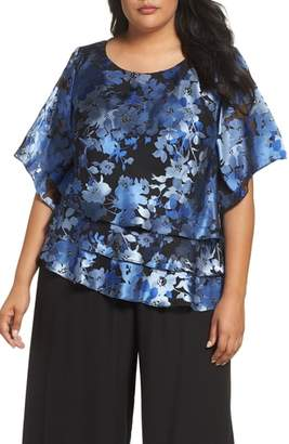 Alex Evenings Burnout Floral Blouse