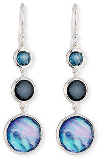 Ippolita Small Silver Lollitini Three-Stone Earrings in Eclipse