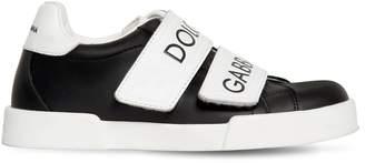 Dolce & Gabbana Logo Print Leather Strap Sneakers