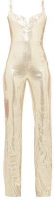 Galvan Galaxy Sequinned Jumpsuit - Womens - Light Gold