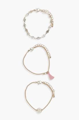 boohoo Tassel & Coin Chain Bracelet 3 Pack
