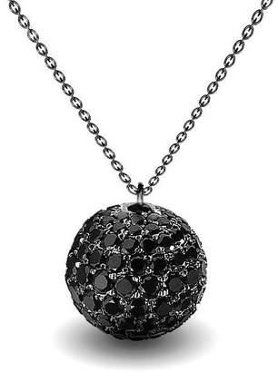 Black Diamond 10K White Gold 2.00Ct Micro Pave Ball Pendant Necklace on Chain