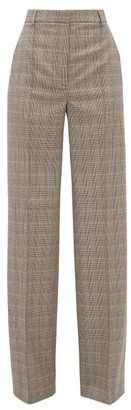 Stella McCartney Prince Of Wales Check Wool Wide Leg Trousers - Womens - Grey Multi