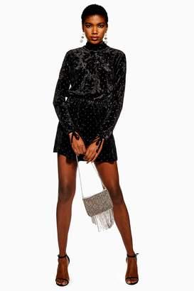 fa3f2d5c2fe Topshop Womens High Neck Spot Velvet Playsuit - Black