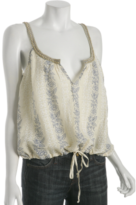Free People blue floral linen-cotton drawstring tank