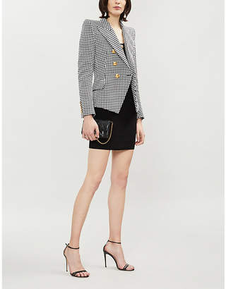 Balmain Double-breasted houndstooth cotton-blend jacket