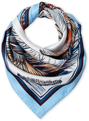 Emilio Pucci Light Blue & Rust Printed Silk Scarf