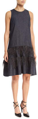 Brunello Cucinelli Sleeveless A-Line Denim Dress with Ostrich Feathers