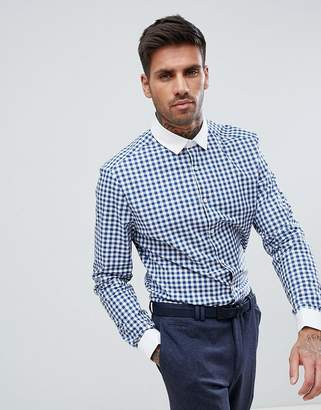 Asos Design Smart Stretch Slim Shirt With Contrast Collar And Double Cuffs