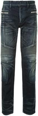 Balmain stonewashed tapered biker jeans