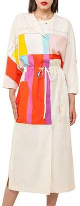 Akris Mural-Print Muslin Kimono Dress