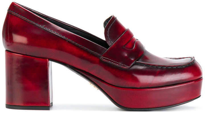 Prada block heeled penny loafers