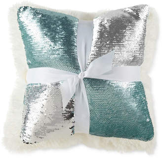 JCPenney JCP HOME Home Aqua Silver Mermaid and Cream Rabbit 2 Pack Throw Pillows