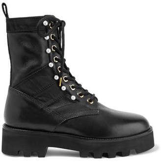 Altuzarra Faux Pearl-embellished Canvas-trimmed Leather Ankle Boots - Black