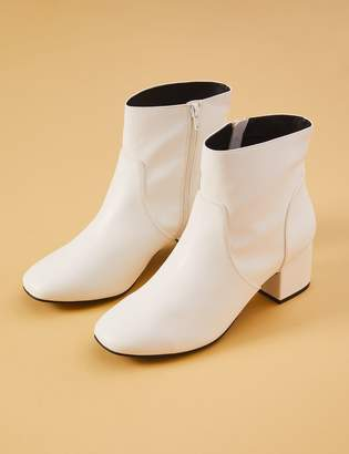 Lane Bryant White Faux Leather Ankle Boot