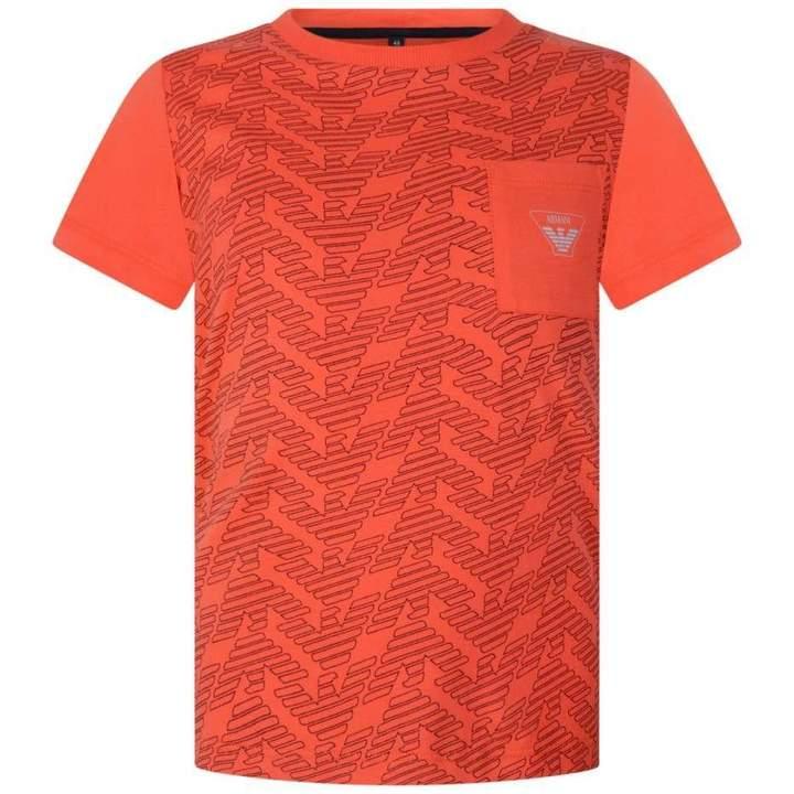 Armani JuniorBoys Orange Logo Print Top
