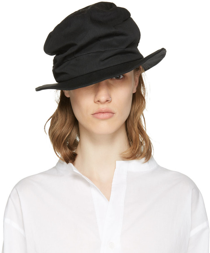 Y's Y's Black Denim Tuck Hat