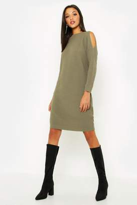 e44728ceade7e boohoo Tall Cold Shoulder Moss Stitch Jumper Dress