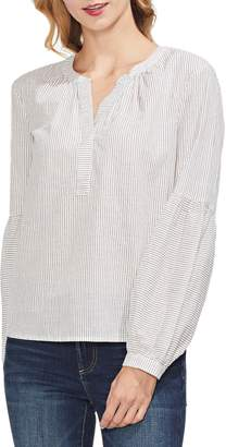 Vince Camuto Squire Stripe Henley Cotton Peasant Blouse