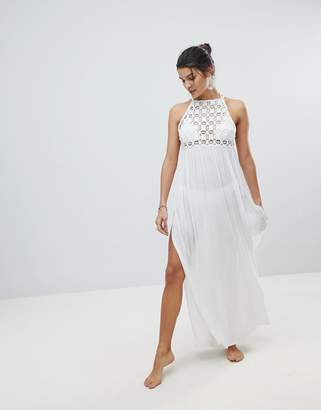 Asos Design Premium Crochet Panel Maxi Beach Dress