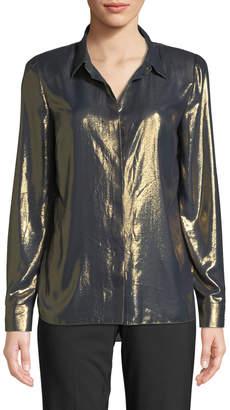 Elie Tahari Macklyn Button-Front Long-Sleeve Metallic Blouse