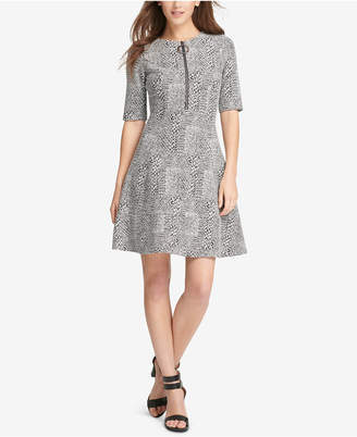 DKNY Printed Zip-Neck Fit & Flare Dress