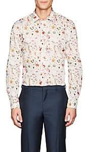 Paul Smith Men's Floral-Print Cotton Shirt - White