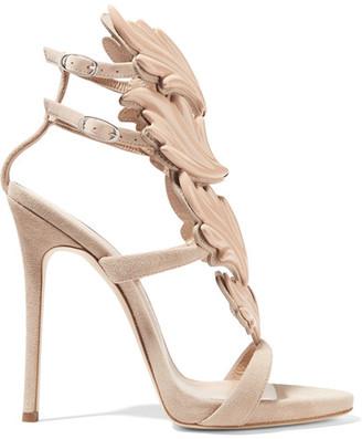 Giuseppe Zanotti - Cruel Embellished Suede Sandals - Beige $1,595 thestylecure.com