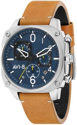 Hunter Avi 8 Hawker Stainless Steel Leather-Strap Chronograph Watch