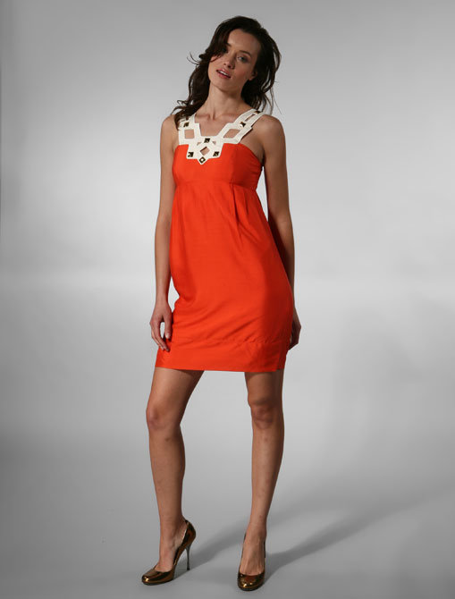 Shoshanna Geo Cutout Square Neck Empire Dress in Tangerine/Ivory