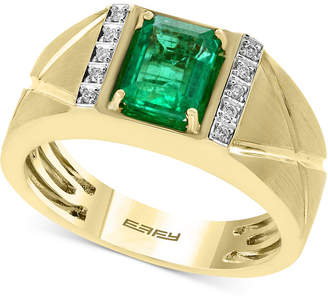 Effy Men Emerald (1-3/8 ct. t.w.) and Diamond Accent Ring in 14k Gold