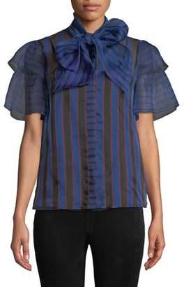 Alice + Olivia Talulah Tie-Neck Ruffle-Sleeve Blouse