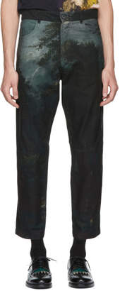McQ Black and Green Patterned Recycled Jeans