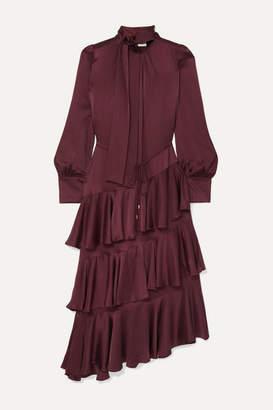 Zimmermann Espionage Pussy-bow Ruffled Silk Dress - Chocolate