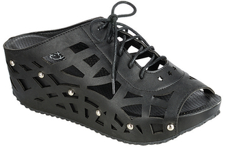 Black Cutout Lace-Up Elva Wedge Sandal $45 thestylecure.com