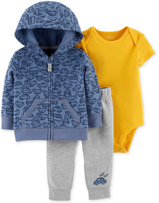 Carter's Baby Boys 3-Pc. Cotton Hoodie, Bodysuit & Jogger Pants Set