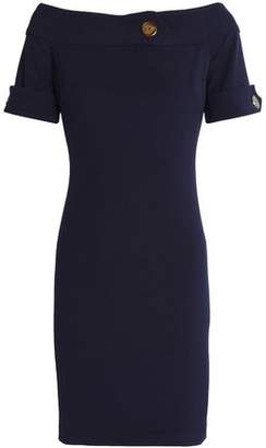 Badgley Mischka Button-Detailed Stretch-Knit Dress