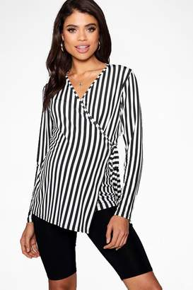 boohoo Maternity Stripe Long Sleeve Wrap Top