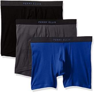Perry Ellis Men's 3 PK 1 X 1 Rib Solid Boxer Briefs