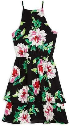 Aqua Girls' Floral Tiered Dress, Big Kid - 100% Exclusive