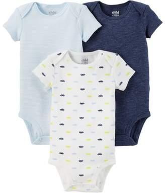 Carter's Child Of Mine By Newborn Baby Boy Basic Short Sleeve 3 Pack Bodysuit