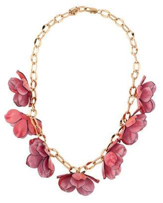 Tory Burch Pentier Resin Flower Collar Necklace