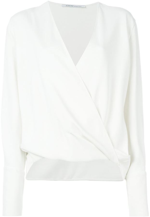 Womens White Wrap Blouse - My Blouses